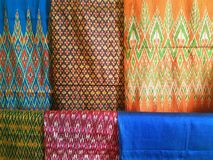 The colors of thai silk. In songkhla thailand Royalty Free Stock Photo