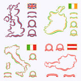 Colors of United Kingdom, Italy, Ireland and Austria Royalty Free Stock Photo