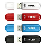 Colors USB flash drives Royalty Free Stock Images