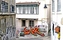Colors In a Lisbon lane. A wall murals in a Lisboa portugal europa lane royalty free stock images