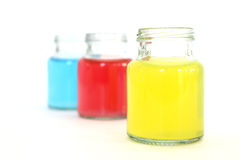 Colors water in bottles Royalty Free Stock Image