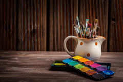 Colors, Watercolors and brushes Royalty Free Stock Images