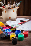 Colors, Watercolors and brushes Stock Image
