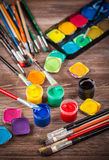 Colors, Watercolors and brushes Royalty Free Stock Photos