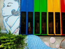 The Colors of windows. Art and colors in songkhla thailand Stock Photos