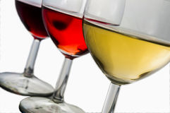 Colors of wine. 3 glasses of red, rose and white wine Stock Photos