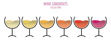 The colors of wine - set of glasses in a row.  Stock Image