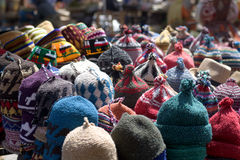The colors of the woolen caps in Arab markets Stock Photo