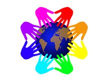 Colors of the world. The earth touched by different colors hands Stock Image