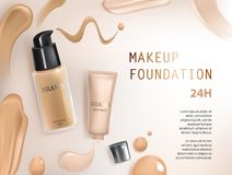 Colorstay make-up in elegant packaging on a background of drop of foundation Royalty Free Stock Photography