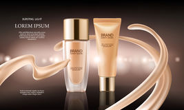 Colorstay make-up in elegant packaging on a background of drop of foundation. Vector 3D cosmetic illustration for the promotion of foundation premium product Stock Image