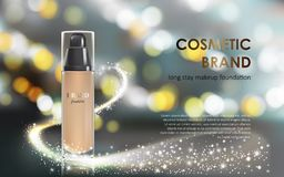 Colorstay make-up in elegant packaging gray background with a bokeh effect and a stream of sparkling dust Royalty Free Stock Image