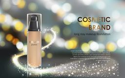 Colorstay make-up in elegant packaging gray background with a bokeh effect and a stream of sparkling dust Stock Image