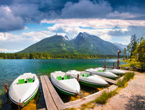 Colorsul summer scene on the Hintersee lake Royalty Free Stock Photos