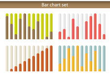 4 colorul bar chart graph set, isolated on white Stock Photos