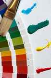 Colorwheel with brush and paint strokes royalty free stock photos