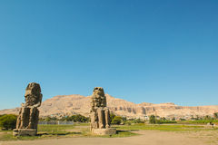 Colos of Memnon, Egypt. Egypt, Upper Egypt, Nile Valley, Gaugue bank of Thebes, about Luxor, Colossi of Memnon classified World Heritage royalty free stock photos