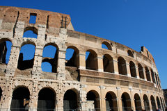 Coloseum against bright bluse sky in Rome Italy Royalty Free Stock Photo