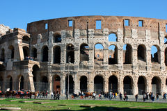 Coloseum against bright bluse sky in Rome Italy Stock Image
