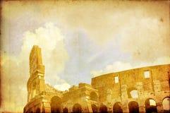 Coloseum no cartão do vintage de Roma Imagem de Stock
