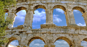 The Coloseum in Pula, Croatia. Clouds, blue sky Stock Photography