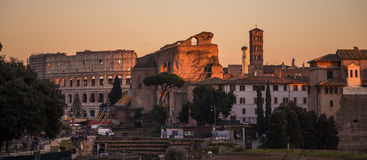 Coloseum and Roman Forum in the sunset. Photograph of sunset in Rome, Italy Stock Images