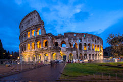 The Coloseum of Rome, Italy. The Coloseum of Rome seen at night from Piazza del Colosseo Royalty Free Stock Images