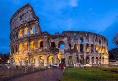 The Coloseum of Rome, Italy. The Coloseum of Rome seen at night from Piazza del Colosseo Royalty Free Stock Image
