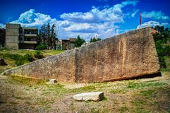 Colossal boulder aka South stone near ruins of Baalbek, Beqaa valley, Lebanon Stock Images