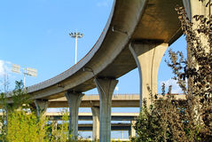 A colossal concrete motorway flyover access and egress. Royalty Free Stock Photography
