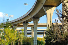 A colossal concrete motorway flyover access and egress. Stock Photos