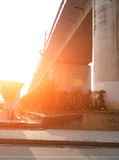 A colossal concrete motorway flyover access and egress. Stock Photography