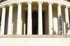 Colossal marble Ionic columns of the Jefferson Memorial, West Potomac Park, National Mall & Memorial Parks, Washington DC. Grand view of the classically styled Royalty Free Stock Photography