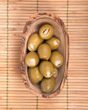 Colossal olives hand stuffed with garlic gloves Stock Photo