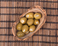 Colossal olives hand stuffed with garlic gloves Royalty Free Stock Image