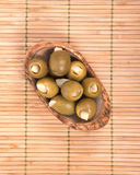 Colossal olives hand stuffed with garlic gloves Stock Images