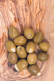Colossal olives hand stuffed with garlic gloves Royalty Free Stock Photos