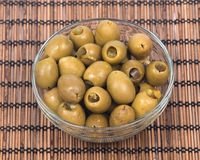 Colossal olives hand stuffed with jalapeno peppers Royalty Free Stock Photo
