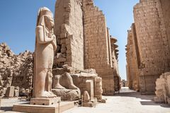 Colossal statue at karnak temple Royalty Free Stock Images