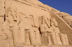 Colossal statues in Abu Simbel temple Royalty Free Stock Photo
