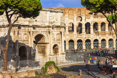 Colosseo and arco di constantino,  Rome. Colosseo and arco di Constantino - greatest Italian landmarks Stock Photo