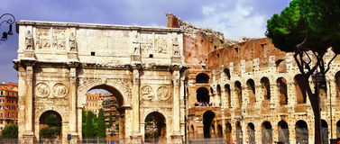Colosseo and arco di costantino. Great Rome, panoramic view with Colosseo Stock Photography
