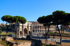 Colosseo and Arco di Costantino. Colosseo was the ancient Roman arena animal performance Royalty Free Stock Photos