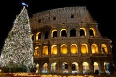Colosseo ed albero di Natale Fotografie Stock Libere da Diritti