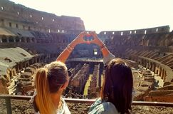 Colosseo. Perfect trip in Roma with best friend Stock Photos