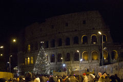 Colosseo street in Rome at night Stock Photo