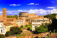 Colosseo - Top View of ancient Rome Royalty Free Stock Photo
