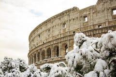 Colosseum και imperiali Fori, χιόνι στη Ρώμη Στοκ εικόνες με δικαίωμα ελεύθερης χρήσης