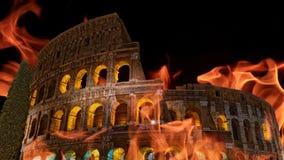 Colosseum Ρώμη στην πυρκαγιά ή το κάψιμο τη νύχτα του βίντεο απεικόνιση αποθεμάτων