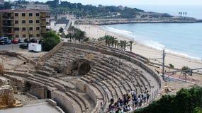 Colosseum Таррагоны и пляж Стоковое Фото